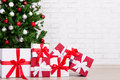 Gifts Under Decorated Christmas Tree With Colorful Balls Over Br Royalty Free Stock Photo - 81403325