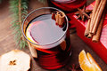Hot Mulled Wine With Spices, Dried Apple And Mandarine Stock Image - 81405221