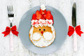 Christmas Food Art Idea For Kids - Santa Pancakes For Breakfast Royalty Free Stock Photo - 81413035