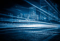 Blurred Traffic Light Trails On Road At Night In China Royalty Free Stock Photography - 81414037