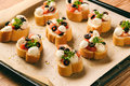 Baked Toasts With Mozarella, Tomatoes, Olives And Garlic. Royalty Free Stock Photos - 81417518
