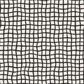 Wavy Hand Drawn Lines Square Grid. Vector Seamless Black And White Pattern. Stock Photography - 81450562