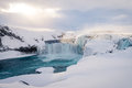 Godafoss Waterfall In Iceland During Winter Royalty Free Stock Images - 81450639