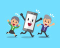 Cartoon Senior People With Smartphone Royalty Free Stock Images - 81457179