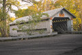 Covered Bridge On Warm Autumn Day - Fall Color Royalty Free Stock Photo - 81476545