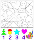 Logic Exercise For Young Children.  Need To Find In The Drawing The Corresponding Number Of Figures And Paint Them. Royalty Free Stock Photo - 81483915