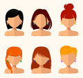 Young Pretty Women, Pretty Faces With Different Hairstyles, Hair Color. Flat Design Stock Images - 81492124