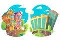 Vector Illustration Houses 5 Royalty Free Stock Photo - 81495695