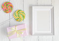 Birth Of Child - Blank Picture Frame On Wooden Background Stock Photos - 81498333