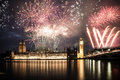 New Year In The City - Big Ben With Fireworks Royalty Free Stock Images - 81509119