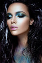 Beautyful Girl With Blue Glitter On Her Face Stock Photo - 81620820