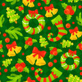 Seamless Pattern With Cute Cartoon Christmas Mittens, Candy Cane, Holly Berries, Smiling Snowman And Red Stocking Xmas Royalty Free Stock Photo - 81624215