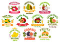 Fresh Juicy Fruits Signs Set Royalty Free Stock Images - 81634689