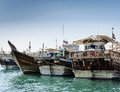 Traditional Arabian Dhow Boats In Deira Harbour Of Dubai UAE Royalty Free Stock Photos - 81639828