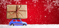 Retro Toy Car With Christmas Gifts Stock Image - 81641711