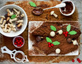 Christmas Bush De Noel - Homemade Chocolate Yule Log Cake , Chri Stock Images - 81643614