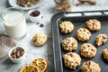 Oatmeal Cookies With Cranberries On A Baking Sheet And Milk Royalty Free Stock Image - 81644326