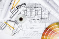Construction Plans And Drawing Tools On Blueprints Royalty Free Stock Photography - 81646317