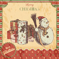Christmas Or New Year Hand Drawn Colored Vector Illustration - Card, Poster. Snowman In Winter Hat With Broom And Gifts Royalty Free Stock Images - 81647059