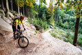 Mountain Biker Riding Cycling In Autumn Forest Royalty Free Stock Photography - 81647937