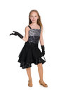 Young Girl In A Black Dress Stock Image - 81677641