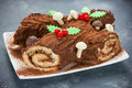 Christmas Bush De Noel - Homemade Chocolate Yule Log Cake Royalty Free Stock Photos - 81678898