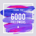 Vector Thanks Design Template For Network Friends And Followers. Thank You 6 K Followers Card. Image For Social Networks. Web User Stock Photos - 81680843