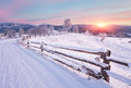 Winter Country Landscape With Timber Fence And Snowy Road Royalty Free Stock Photos - 81695738
