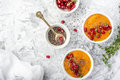 Detox And Healthy Breakfast With Seasonal Fruits, Milk, Chia Seeds, Pomegranate   Herbs On A Gray Marble Background. Top Royalty Free Stock Images - 81726549