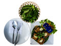 Thai Food, Prepare For Eat Spoon Fork And Dish With Fried Fish And Vegetables Stock Photos - 81753013