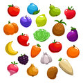 Cartoon Fruits, Berries And Vegetable Icons Royalty Free Stock Photo - 81774785
