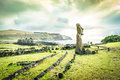 Moai Statue At Ahu Tongariki - Easter Island Rapa Nui Chile Stock Photography - 81777332
