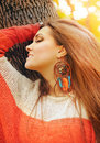 Smiling Happy Girl Profile Beauty Portrait, Fashion Boho Chic Style Dreamcatcher Earrings, Autumn Outdoor Stock Photos - 81791493