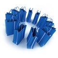 Circle Of Blue Shopping Bags Royalty Free Stock Images - 8188879