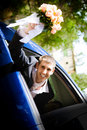 Groom In The Car Royalty Free Stock Photos - 8189588