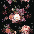 Floral Pattern With Roses And Field Flowers In Watercolor Style Royalty Free Stock Photography - 81802307