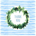Words Thank You In Simple And Cute Floral Circle Wreath With Spring Branches  Leaves. Watercolor Drawing. Element Design For Poste Stock Image - 81802591