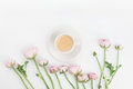 Beautiful Spring Ranunculus Flowers And Cup Of Coffee On White Table From Above. Greeting Card. Breakfast. Pastel Color. Flat Lay. Stock Image - 81820231
