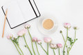 Beautiful Spring Ranunculus Flowers, Empty Notebook And Cup Of Coffee On White Table From Above. Greeting Card. Breakfast.Flat Lay Stock Photo - 81820280