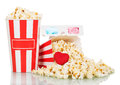 Most Full Popcorn Box With An Average Of Scattered Snack, Hearts And 3d Glasses Isolated On White Royalty Free Stock Photography - 81825097