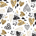 Golden Seamless Pattern With The Image Of Tribal Hearts Stock Images - 81839864