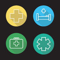 Hospital Flat Linear Long Shadow Icons Set Royalty Free Stock Photography - 81848117