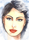 Watercolor Portrait Of Beautiful Fashion Woman Royalty Free Stock Photography - 81850267
