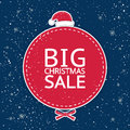 The Inscription `Big Christmas Sale` On The Red Circle On A Blue Background Stock Images - 81853424
