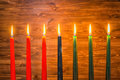 Kwanzaa Festival Concept With Seven Candles Red, Black And Green Stock Photos - 81885273