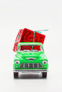 Green Retro Car Pickup With A Red Gift Box Isolated Royalty Free Stock Photos - 81888248