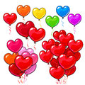Big Set Of Bright And Colorful Heart Shaped Balloons Stock Images - 81896614