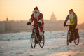 Santa Claus On A Bike With An Accordion Stock Photos - 81898143