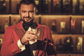 Extravagant Stylish Man With Whisky Glass In Gentleman Club Royalty Free Stock Images - 81898969