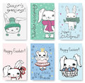Cute Rabbit Cards. Royalty Free Stock Photos - 81901288